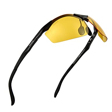 d59589a4a7 Soxick Night Driving Glasses Anti Glare Yellow Polarized Lenses Matte Black  Magnalium Frame Semi-Rimless