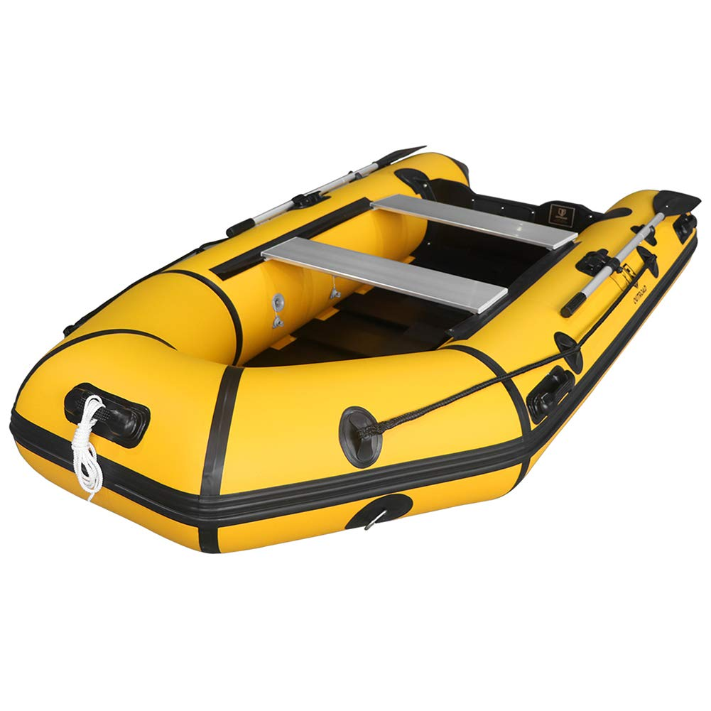 Outroad Inflatable Dinghy Fishing Boat 10 FT, Sport Tender Raft Deep Bottom and Trolling Motor Transom, 4 Person Seats w Two Paddles Gray Yellow Black
