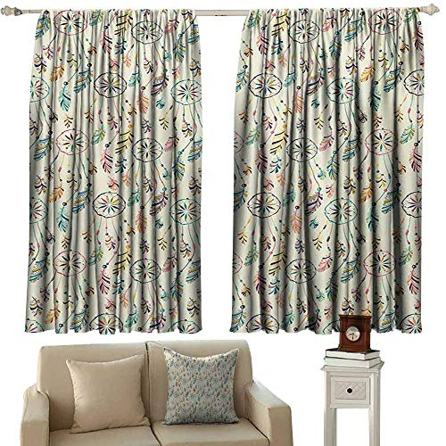 - Room Darkening Wide Curtains Feather Traditional Tribal Native American Folk Inspiration Dreamcatchers Symbolic Print Noise Reducing Curtain W72 xL45 Multicolor