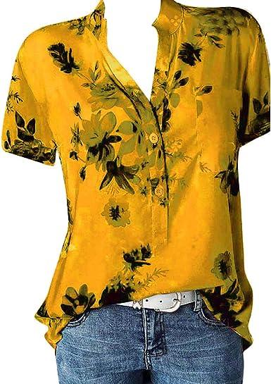 Luckycat Camiseta Casual Para Mujer Camiseta de Mujer con Estampado floral de Manga Corta en V Cuello Moda Impresa Camiseta Blusa Tops de Verano ...
