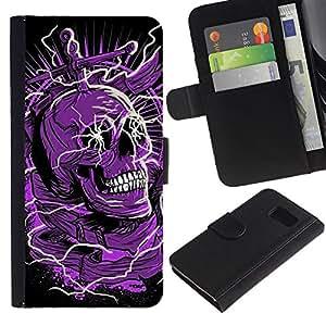 All Phone Most Case / Oferta Especial Cáscara Funda de cuero Monedero Cubierta de proteccion Caso / Wallet Case for Sony Xperia Z3 Compact // Skull Purple Black Death Electric Dead
