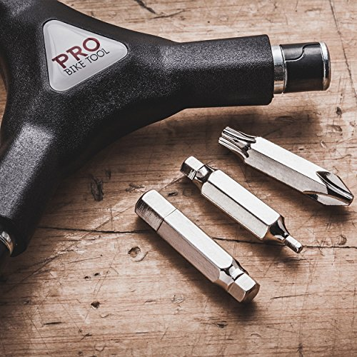 Pro Bike Tool 6 in 1 Y Wrench - 6 Interchangeable Bits - Allen Hex, T25 & PH2 Screwdriver - Strong, Easy & Comfortable Bicycle Multitool Kit - Cycling Maintenance Tools for Road and Mountain Bikes by Pro Bike Tool (Image #2)