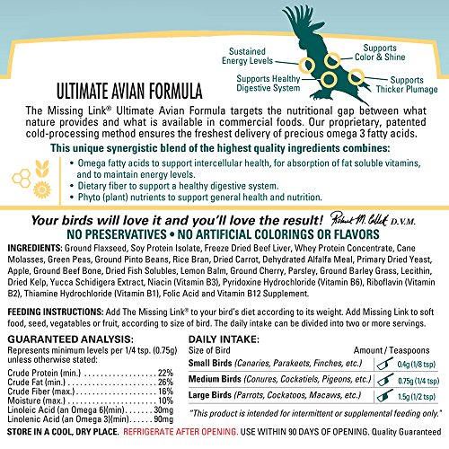 Image of Missing Link 3-1/2-Ounce Ultimate Avian Formula for All Species of Birds