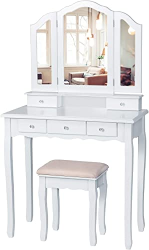 Tiptiper Vanity Set with Cushioned Bench, Vanity Makeup Table with Tri-Folding Necklace Hooked Mirror, Dressing Table with 5 Drawers for Cosmetics Storage, White