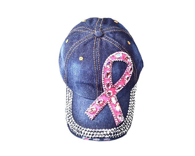 012adcf454bd0 Sizzle City Rhinestone Pink Ribbon Breast Cancer Denim Vintage Baseball Cap  (Big Pink Ribbon Cap