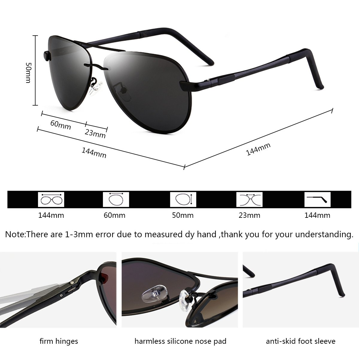 Aviator Sunglasses WISH CLUB polarized sunglasses Men\'s Retro Designer Shades UV400 Lens Outdoor Unisex Sun Glasses
