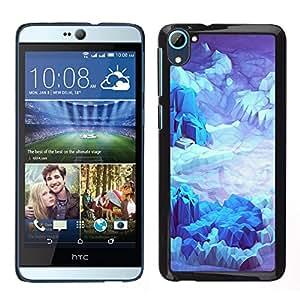 HTC Desire 826 dual Único Patrón Plástico Duro Fundas Cover Cubre Hard Case Cover - Iceberg Planet Space Terrain Blue