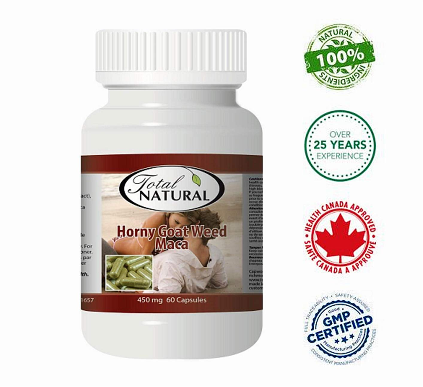Horny Goat Weed with Maca 450mg 60 Capsules [12 Bottles] by Total Natural, Promote Sexual Health, Improve Stamina, Improving Immune Health, Made in Canada