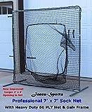 Sock Net 7' x 7' Professional Baseball Safety Sock Net Heavy 60ply Net w/ Frame
