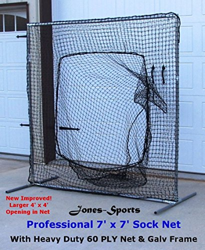 Sock Net 7' x 7' Professional Baseball Safety Sock Net Heavy 60ply Net w/ Frame by Jones Sports