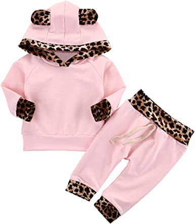 Sweatpants Outfits Set 2PCS Baby Girls Outfits,Toddler Baby Girl Leopard Print Outfits Clothes Sets Long Sleeve Sweatshirt