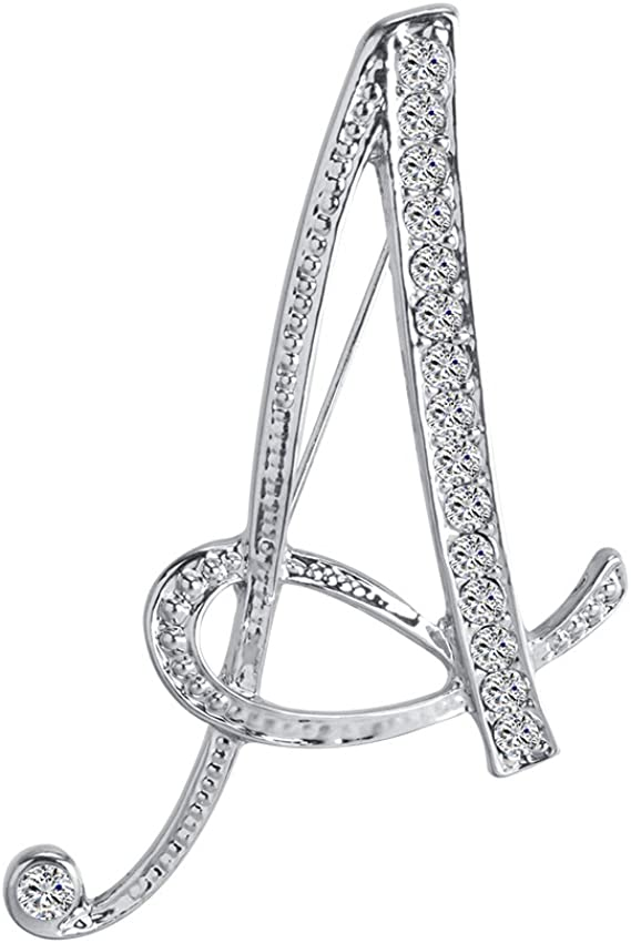 BEUU A-Z 26 Letters Brooches Gold Plated Metal Broaches Pins-Clear Crystal Initial Breastpin