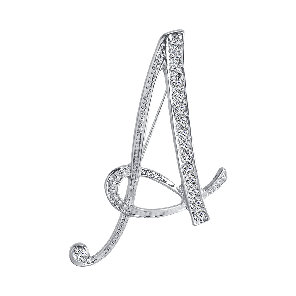 Vivilly 1Pcs A to Z 26 English Letters Silver Plated Metal Clear AAA+ Crystal Lapel Pin Brooches Collar BR002