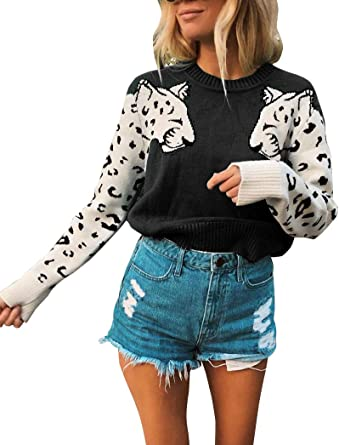 Autumn Lady Leopard Printing Long Sleeve Sweater Round Collar Knitted Pullovers