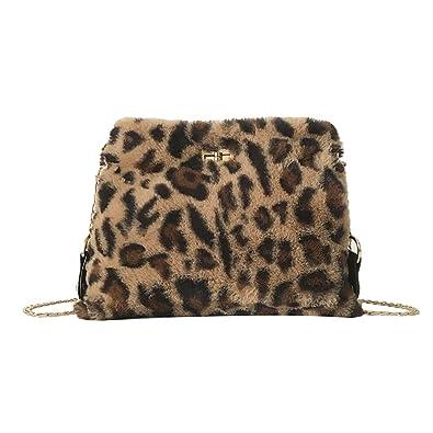 e7628a895d Women Shoulder Bag Faux Fur Leopard Print Sling Chain Bag Plush Crossbody  Messenger Bags  Handbags  Amazon.com