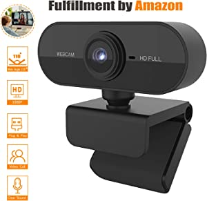 Webcam with Microphone, USB 1080P HD Webcam for Desktop/Laptop/Computer, 110° Wide Angle Webcam Camera with AutoFocus Noise Reduction, Streaming Webcam for Zoom Meeting YouTube Skype FaceTime Tiktok