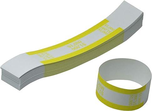 100 USA currency straps USA $10 bills Self Sealing money bands 1000 yellow
