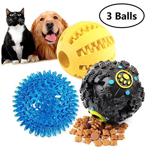 Dog Treat Dispensing Toy IQ Treat Ball with Squeaker for Pet Tooth Cleaning and Playing Better Health & Behavior for Puppy and Small Medium Dogs by Pennyy