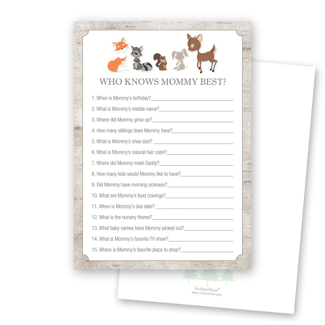 24 cnt Who Knows Mommy Best - Woodland Animals Baby Shower Game