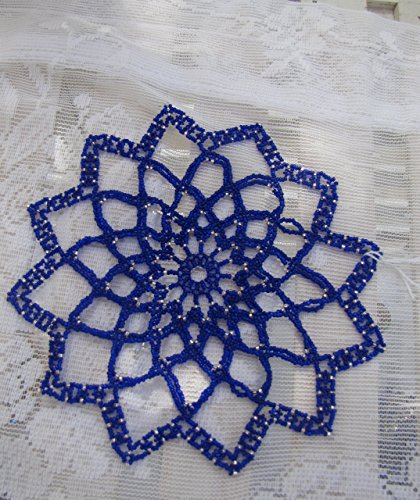 - Beaded doily cobalt