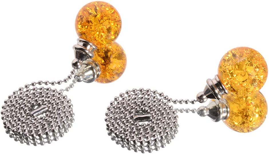 Siyibb Pack of 2 Ice Cracked Crystal Glass Ball Pull Chain Extension for Ceiling Fan Light,Amber