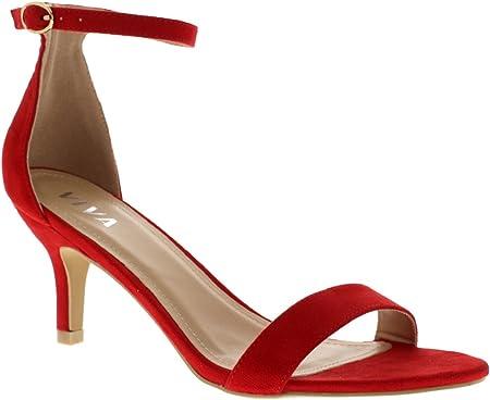 Mujer Bajo Gatito Talón Correa de Tobillo Ante Oficina Trabajo Noche Sandalia Zapatos