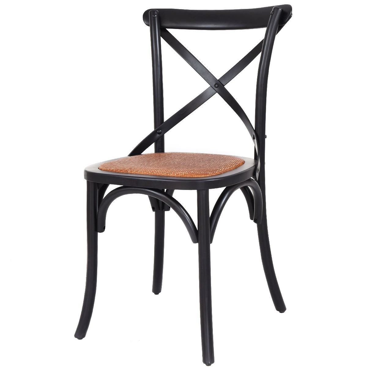 Amazon.com - COSTWAY Cross Back Antique Style Dining Chair Birch Frame with  Rattan Seat (Black) - Chairs - Amazon.com - COSTWAY Cross Back Antique Style Dining Chair Birch