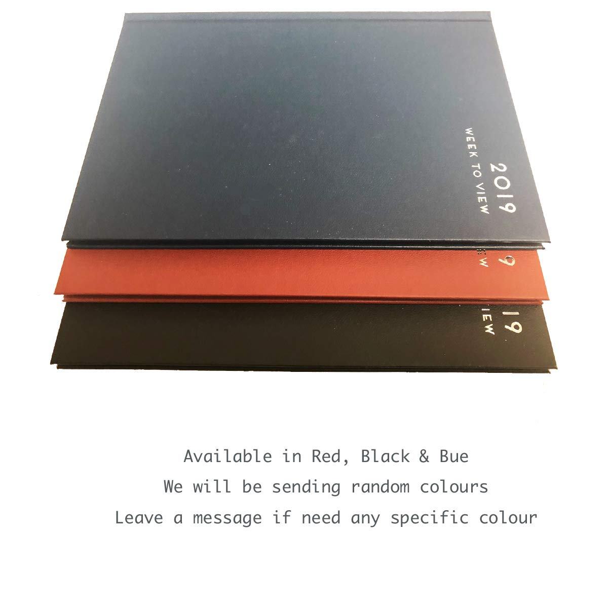 """p2513 Blue or Red Diaries 2019 A5 /""""Week to view/"""" Diary Hardback Cover Black"""