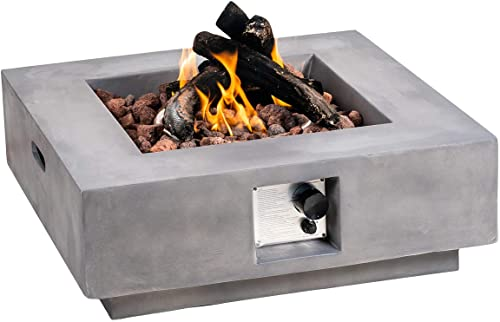 ELIPHONIC Fire Pit Table Propane Outdoor Square 29.5-inch Durable Grey Concrete Firepit Free Lava Rocks and Auto-Ignition for Patio Backyard Lawn Barbecue Pool 50000 BTU