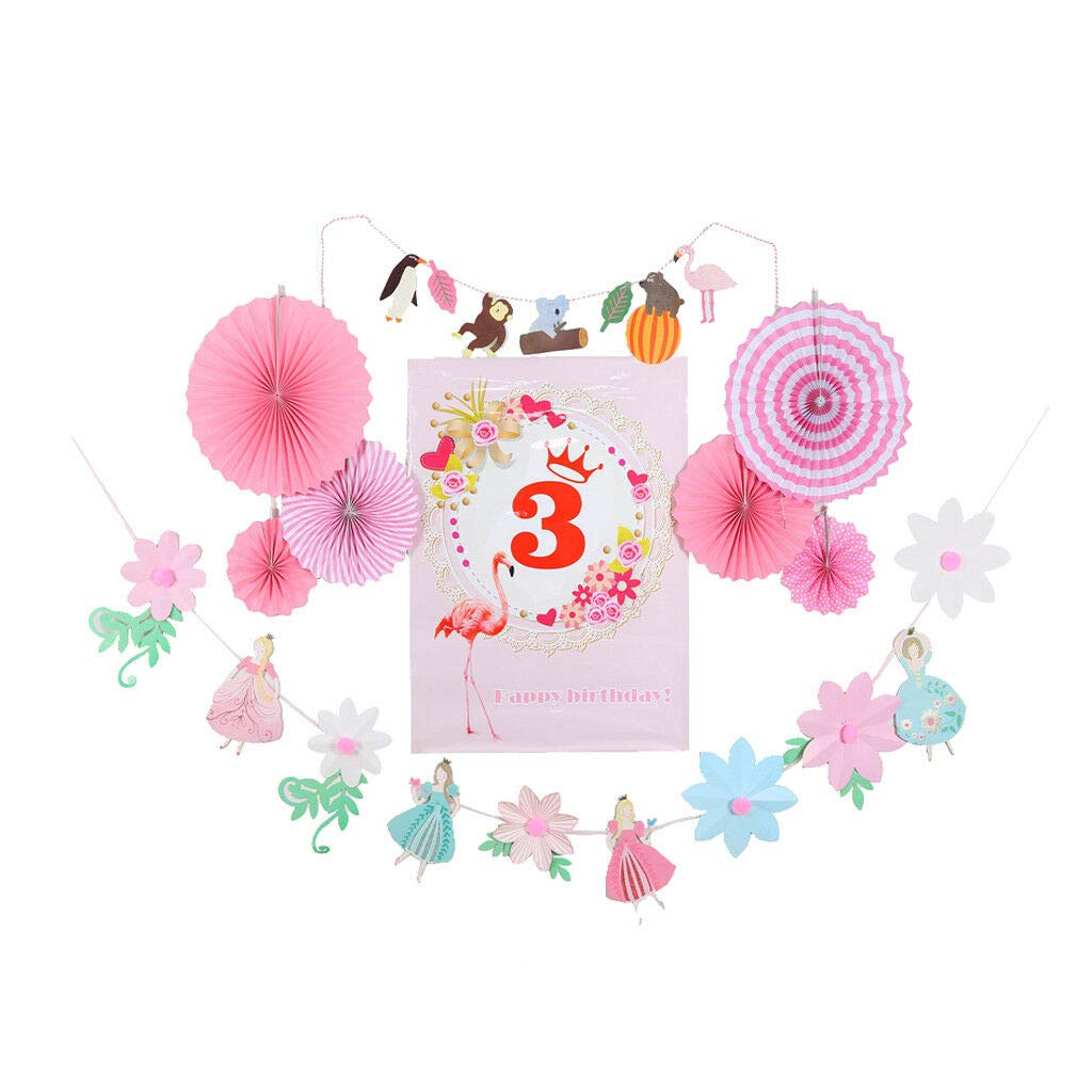 Ages 1 to 8 Birthday Poster Paper Fan Flower Fairy Flamingo Banner Photo Prop |Numbers - 3|