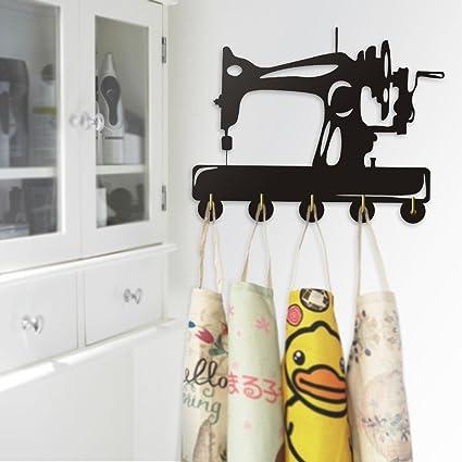 Vintage diseño máquina de coser decoración del hogar abrigo llaves bolsas ropa gancho dormitorio baño toalla
