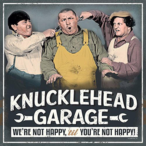 Three Stooges Knucklehead Garage Embossed Metal Lithographed Sign - 12 x (Three Stooges Metal)