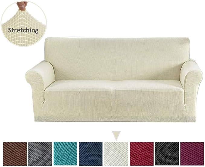 Argstar Jacquard Sofa Cover Furniture Slipcover Couch Protector Soft Elastic White
