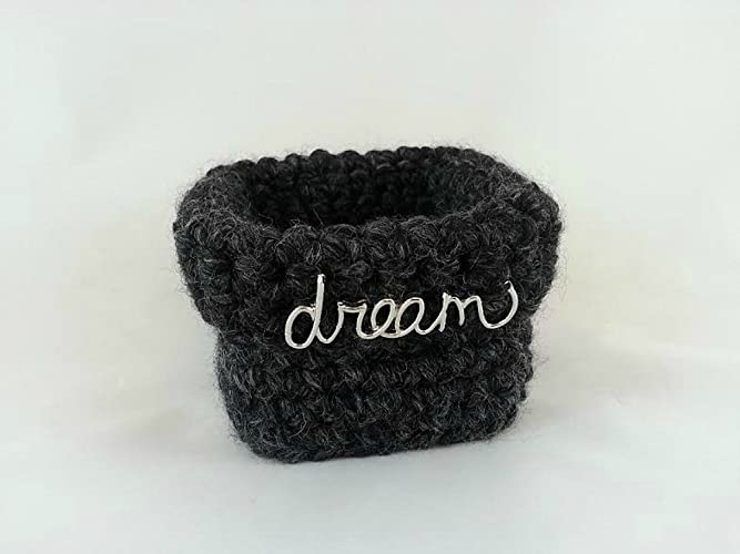Amazon Small Basket Gray Crochet Square Wool Blend Dream