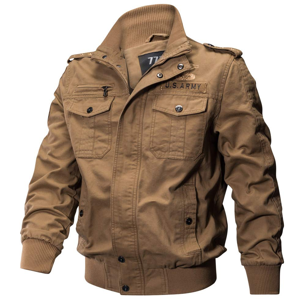 Corriere Mens Plus Size Military Jacket Coats Fall Winter Casual Multi-Pockets Outerwear Tops Corriee