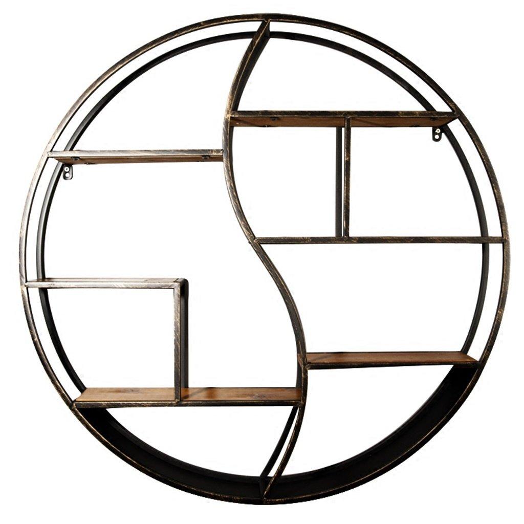 CHS@ アメリカのレトロ壁ハンギングクリエイティブ円形鉄ラックリビングルームウォールラチスフレーム (サイズ さいず : 大 だい) B07RNKKQ16  大 だい