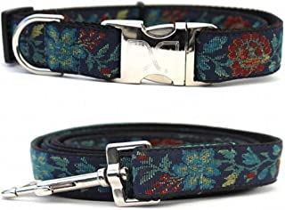 "product image for Diva-Dog 'Nashville Rose' Custom 1"" Wide Dog Collar with Plain or Engraved Buckle, Matching Leash Available"