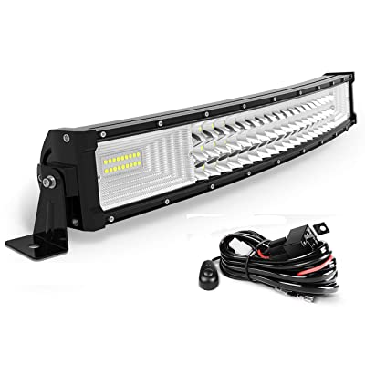 "AUTOSAVER88 24"" LED Light Bar Triple Row Curved Flood Spot Combo Beam Led Bar 270W Off Road Driving Lights with Wiring Harness Compatible with Jeep Trucks Boats ATV Jeep: Automotive"