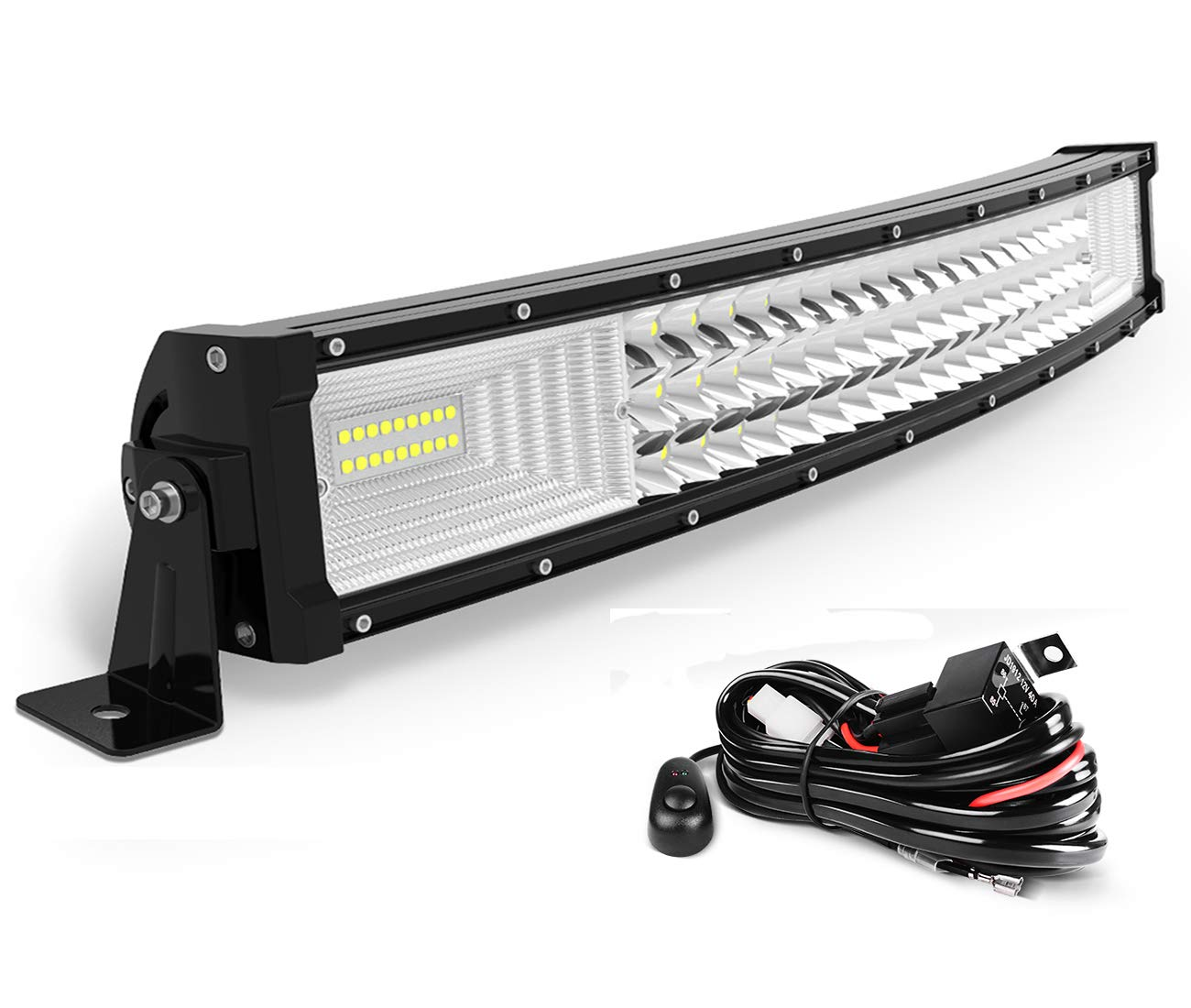 AUTOSAVER88 24 LED Light Bar Triple Row Curved Flood Spot Combo Beam Led Bar 270W Off Road Driving Lights with Wiring Harness for Jeep Trucks Boats ATV Jeep