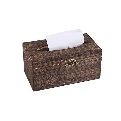Quici Retro de madera caja de papel Tejido dispensador de servilletas, diseño con soporte Casa