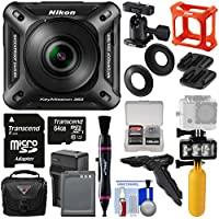 Nikon KeyMission 360 Wi-Fi Shock & Waterproof 4K Video Action Camera Camcorder + Mounts + 64GB Card + Battery + Case + Diving LED + Grip Tripod Kit