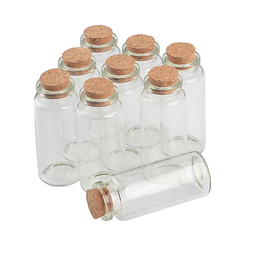 TAI DIAN Empty Mini Bottle with Cork Stopper 30ml Jars idea for Wedding Small Wishing Bottles Wholesale 50pcs (50, 30ml-30x70x17mm) by TAI DIAN