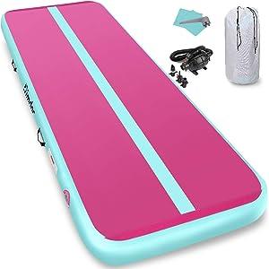 Furgle Inflatable Air Gymnastics Mat 10ft/13ft/16ft/20ft Tumble Track Inflatable Gymnastic Mat, 4/6/8 inches Thickness Tumbling Track Mat for Gymnastics/Yoga/Cheerleading Mat