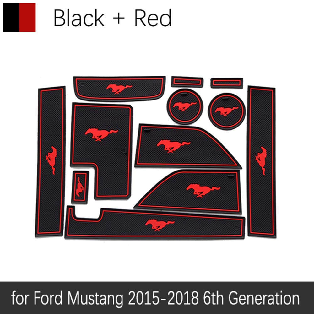 f/ür Ford f/ür Mustang 2015 2016 2017 2018 2019 6 QSONGL rutschfeste Gummi Tor Slot Cup Matte Gen S550 EcoBoost Export GT T/ürnut Matte