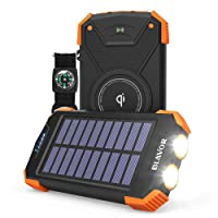 Deals on Blavor 10,000mAh Solar Power Bank Qi Portable Charger