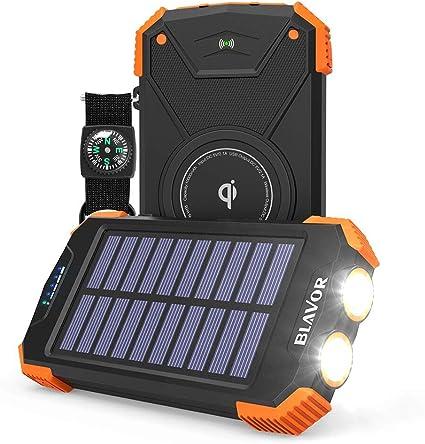 Solar Power Bank, Qi Portable Charger 10,000mAh External Battery Pack Type C Input Port Dual Flashlight, Compass (IPX4 Splashproof, Dustproof, ...