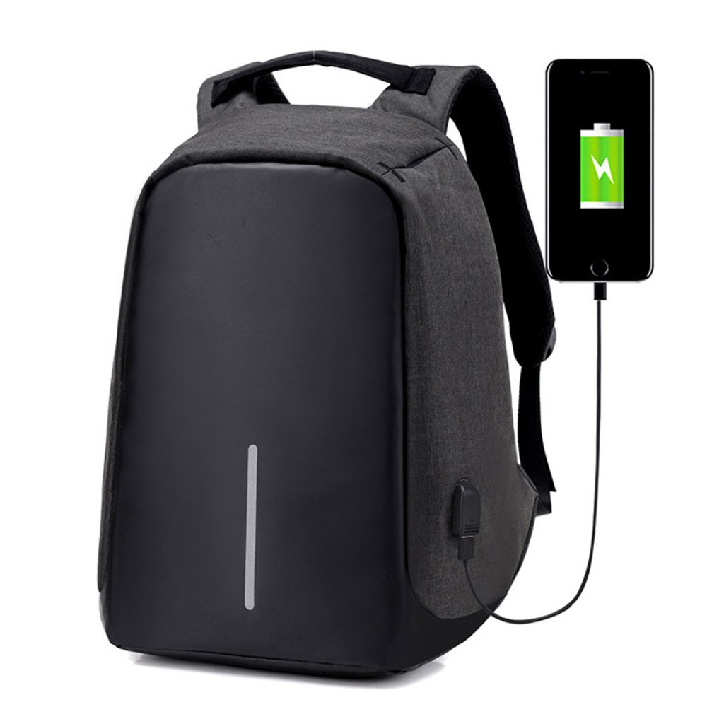 Anti Theft Laptop Backpack with USB Charging Port Water Proof Business Travel Bag (Black)