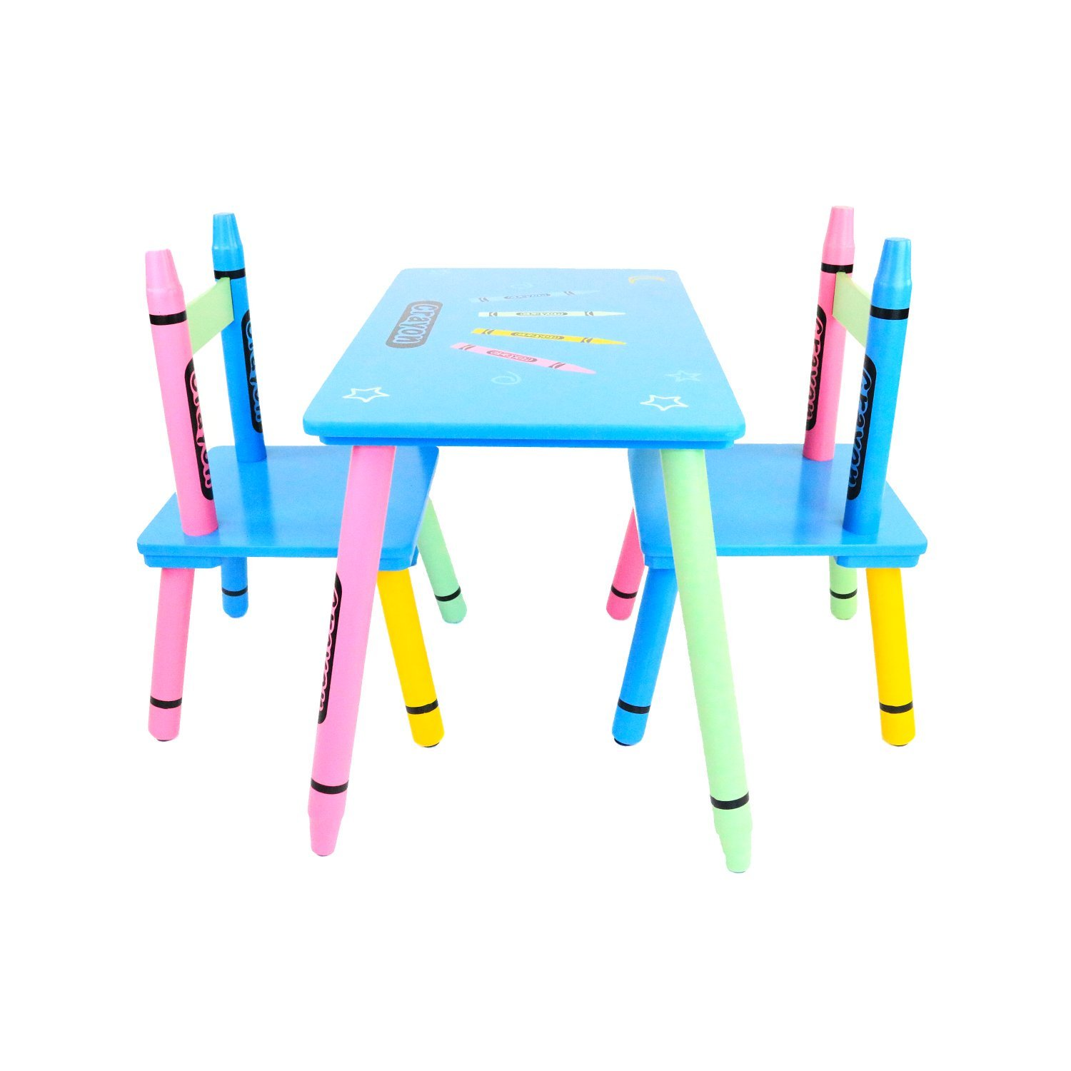 beautiful oypla childrens wooden crayon table and chairs set kids room furniture with table. Black Bedroom Furniture Sets. Home Design Ideas
