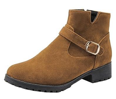 SHOWHOW Damen Martin Boots Kurzschaft Stiefel Mit Absatz Braun 38 EU DpfRMN