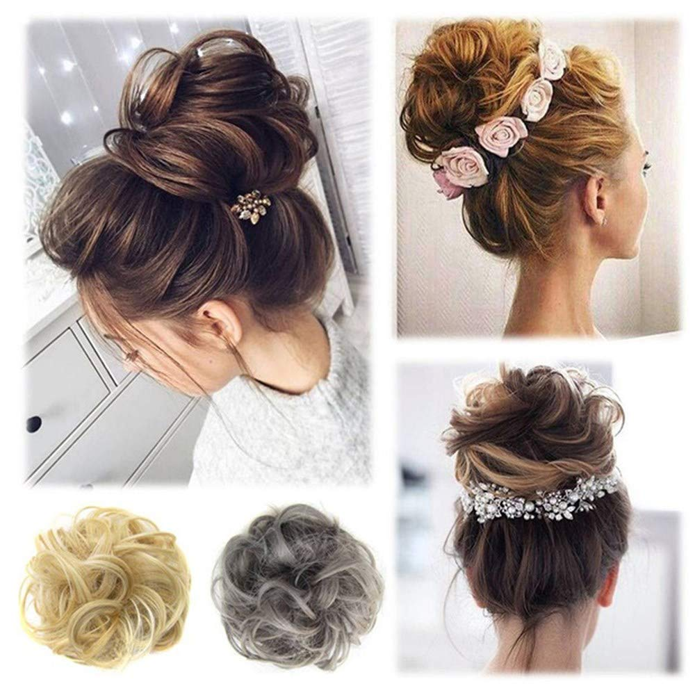 ❤️ Sunbona Wigs for Women Curly Messy Bun Hair Twirl Piece Scrunchie Wigs Extensions Hairdressing Premium Natural Wig (B)